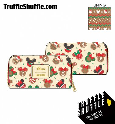 Loungefly Disney Mickey and Minnie Christmas Cookies Zip Around Wallet