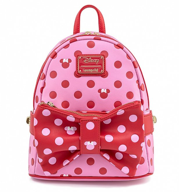 Loungefly Disney Minnie Mouse Pink Bow 2 In 1 Bum Bag / Mini Backpack