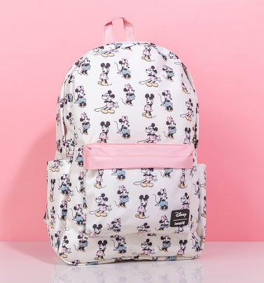 Loungefly Disney Pastel Minnie & Mickey All Over Print Nylon Backpack