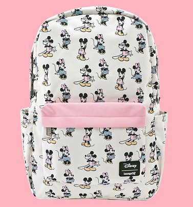 Loungefly Disney Pastel Minnie and Mickey All Over Print Nylon Backpack