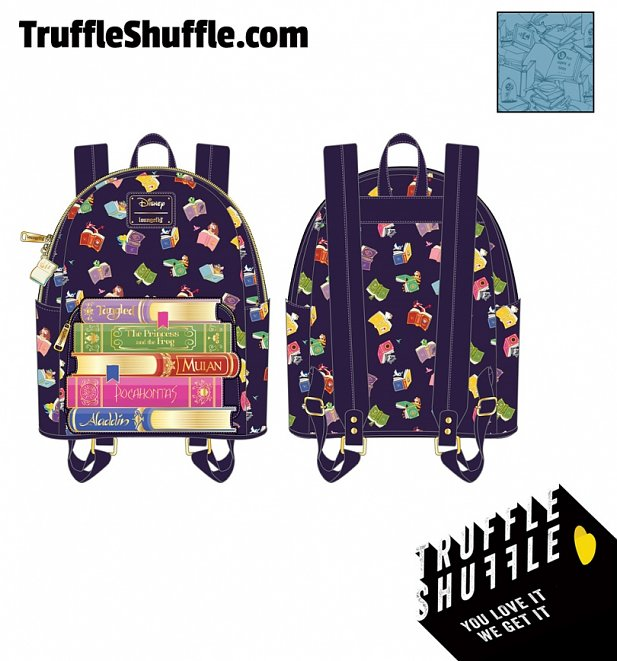 Loungefly Disney Princess Books All Over Print Mini Backpack