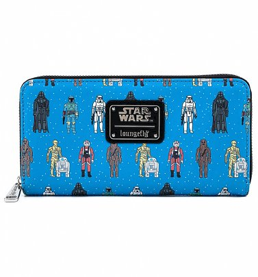Loungefly Disney Star Wars Action Figures All Over Print Zip Around Wallet