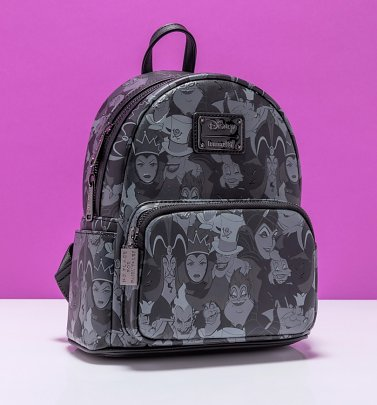 Loungefly Disney Villains Debossed All Over Print Mini Backpack