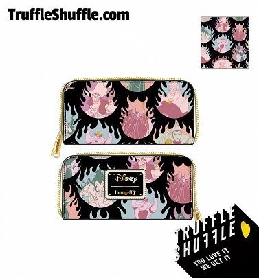 Loungefly Disney Villains Pastel Flames All Over Print Zip Around Wallet
