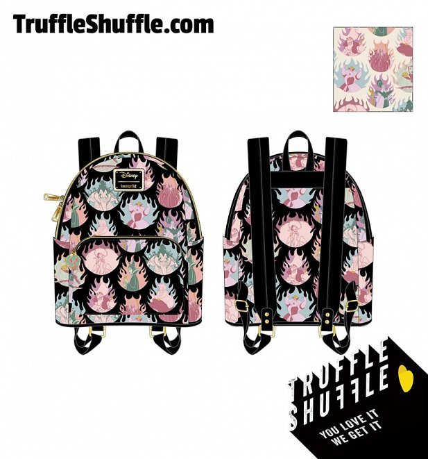 Loungefly Disney Villians Pastel Flames All Over Print Mini Backpack