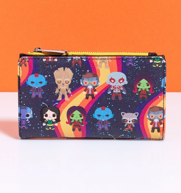Loungefly Marvel Guardians of the Galaxy Chibi All Over Print Rainbow Wallet