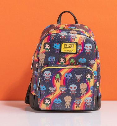Loungefly Guardians of the Galaxy Chibi All Over Print Rainbow Mini Backpack