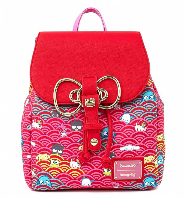 Loungefly Sanrio 60th Anniversary Gold Bow All Over Print Mini Backpack