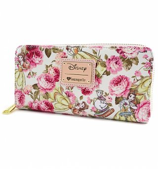 Loungefly x Disney Beauty and the Beast Character Floral Print Wallet
