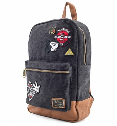 Loungefly x Disney Mickey Mouse Patches Denim Backpack