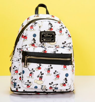 Loungefly x Disney Mickey True Original Print Faux Leather Mini Backpack