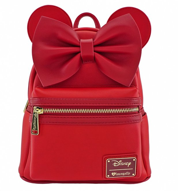 Loungefly x Disney Red Minnie Mouse Ears And Bow Faux Leather Mini Backpack