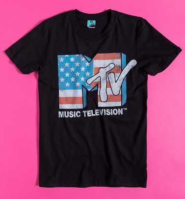 MTV American Flag Logo Black T-Shirt