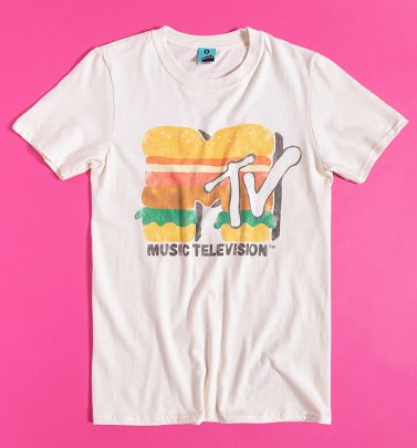 MTV Burger Logo Ecru T-Shirt