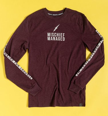 Maroon Marl Mischief Managed Harry Potter Long Sleeve T-Shirt with Sleeve Print
