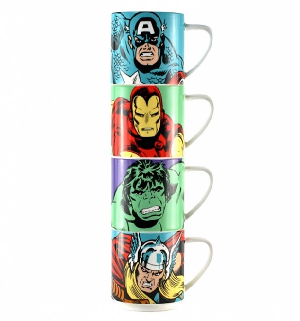 Marvel Comics Characters Ceramic Stacking Mugs