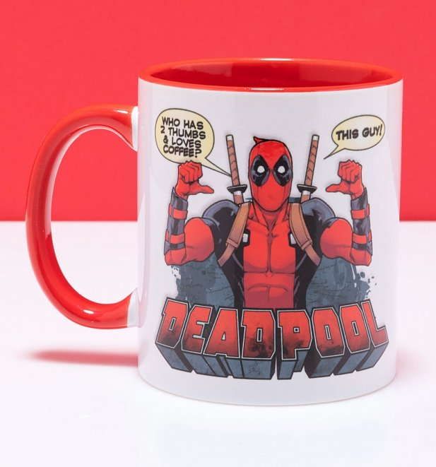 Marvel Comics Deadpool Thumbs Up Mug with Red Handle