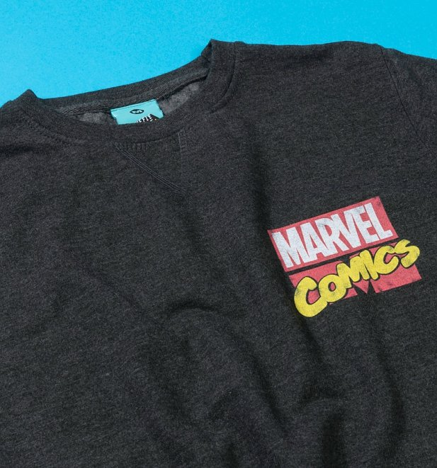 Marvel Comics Superheroes Black Sweater With Sleeve Prints