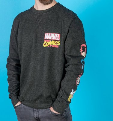 AWAITING POETIC APPROVAL 3/9 Marvel Comics Superheroes Black Sweater With Sleeve Prints
