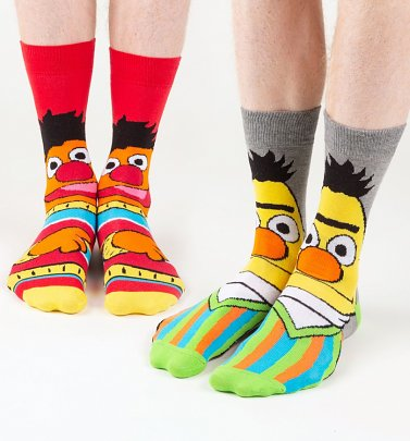 Men's 2pk Bert And Ernie Face Sesame Street Socks