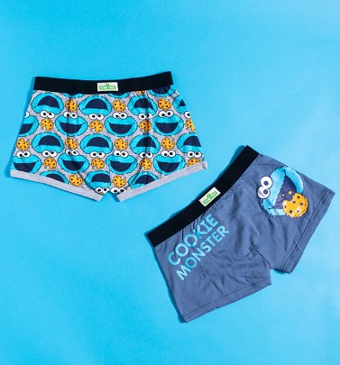 Men's 2pk Cookie Monster Sesame Street Boxer Shorts