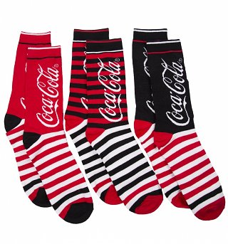 Men's 3pk Coca-Cola Stripey Socks Gift Set