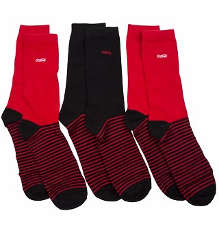 Men's 3pk Red and Black Coca-Cola Socks Gift Set
