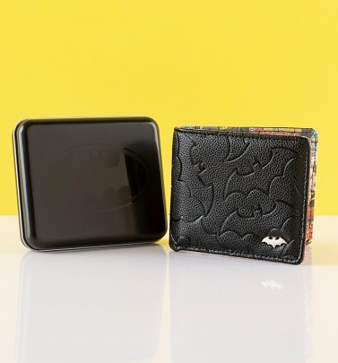 Men's Batman Embossed Wallet With Tin