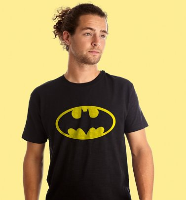 Men's Black Batman Logo T-Shirt from Fabric Flavours