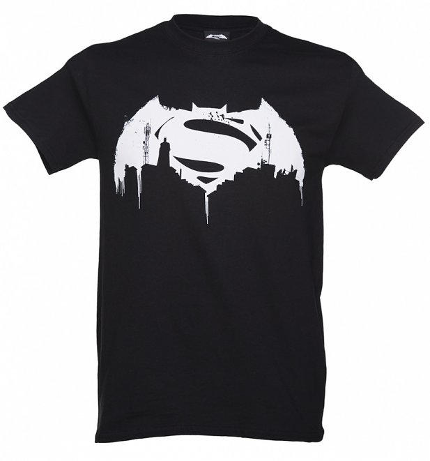 Men's Black Batman V Superman Graffiti Logo T-Shirt