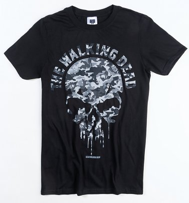 Men's Black Camo Skull Walking Dead T-Shirt