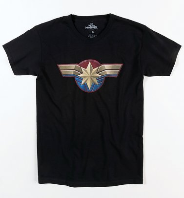 Men's Black Captain Marvel Logo T-Shirt