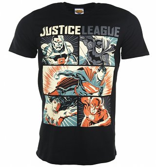 Men's Black DC Comics Justice League Pop Art T-Shirt