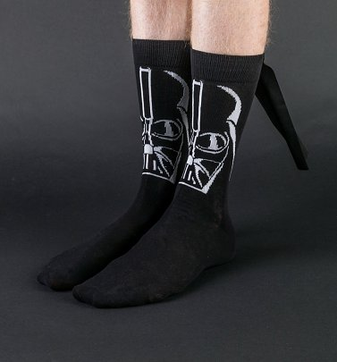 Men's Black Darth Vader Socks With Cape from Difuzed