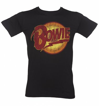 Men's Black Vintage Distressed David Bowie Diamond Dogs Logo T-Shirt