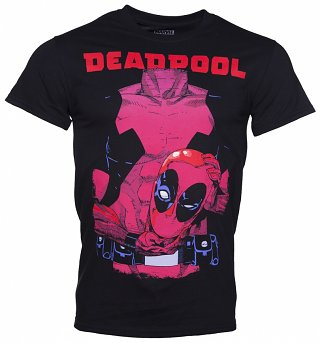 Men's Black Deadpool Holding Head T-Shirt