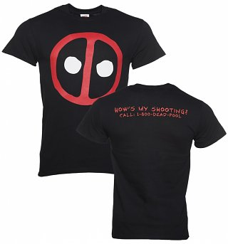 Men's Black Deadpool How's My Shooting T-Shirt