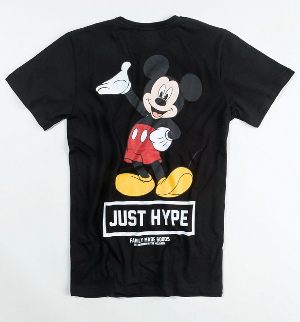 Men's Black Disney Mickey Mouse Back Print T-Shirt from Hype