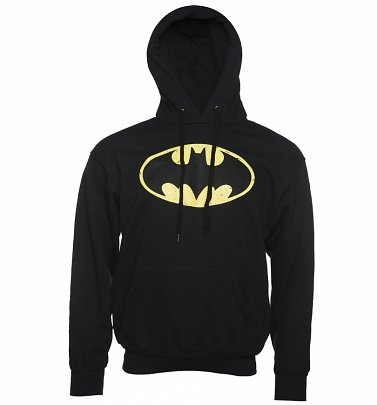 Men's Black Distressed Batman Logo Hoodie