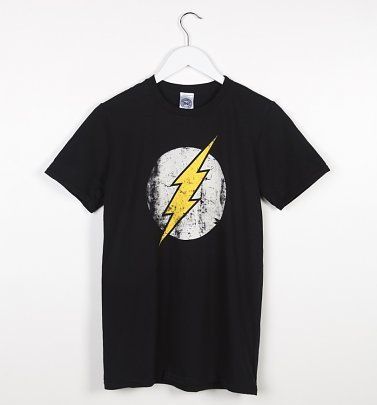 Men's Black Distressed DC Comics Flash Logo T-Shirt