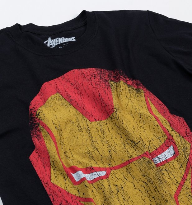 Men's Black Distressed Iron Man Head T-Shirt