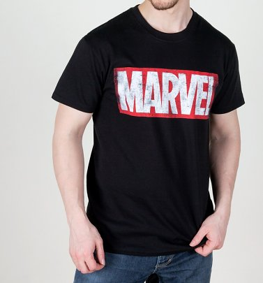 Men's Black Distressed Marvel Logo T-Shirt