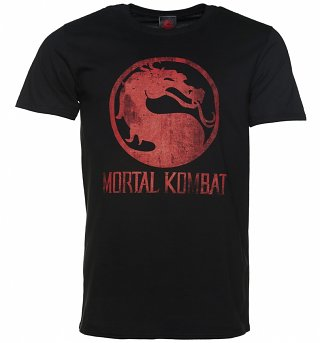 Men's Black Distressed Mortal Kombat Logo T-Shirt