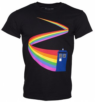 Men's Black Doctor Who TARDIS Rainbow T-Shirt