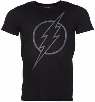 Men's Black Flash Outline DC Comics Logo T-Shirt