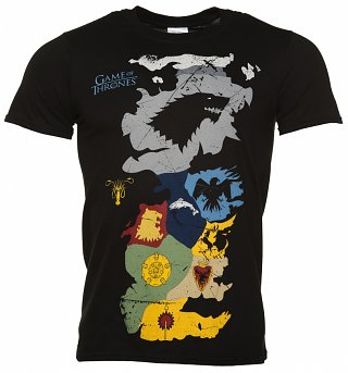 Men's Black Game Of Thrones Map Sigils T-Shirt