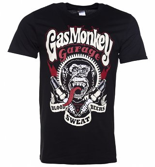Men's Black Gas Monkey Lightning Bolts T-Shirt