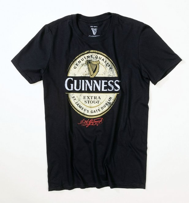 Men's Black Guinness Label T-Shirt