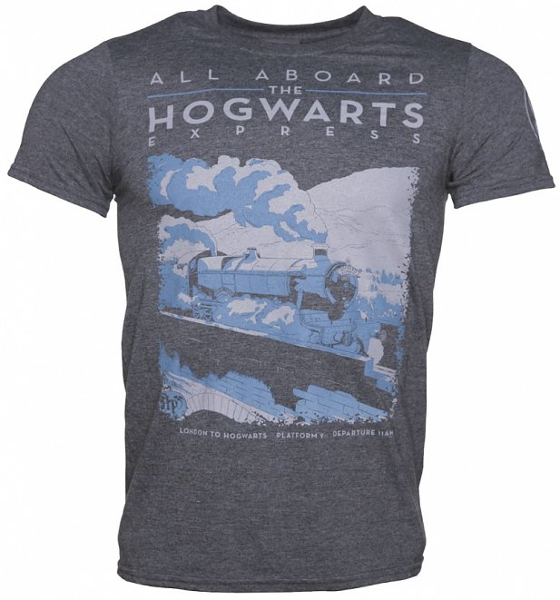 Men's Charcoal Harry Potter All Aboard The Hogwarts Express T-Shirt