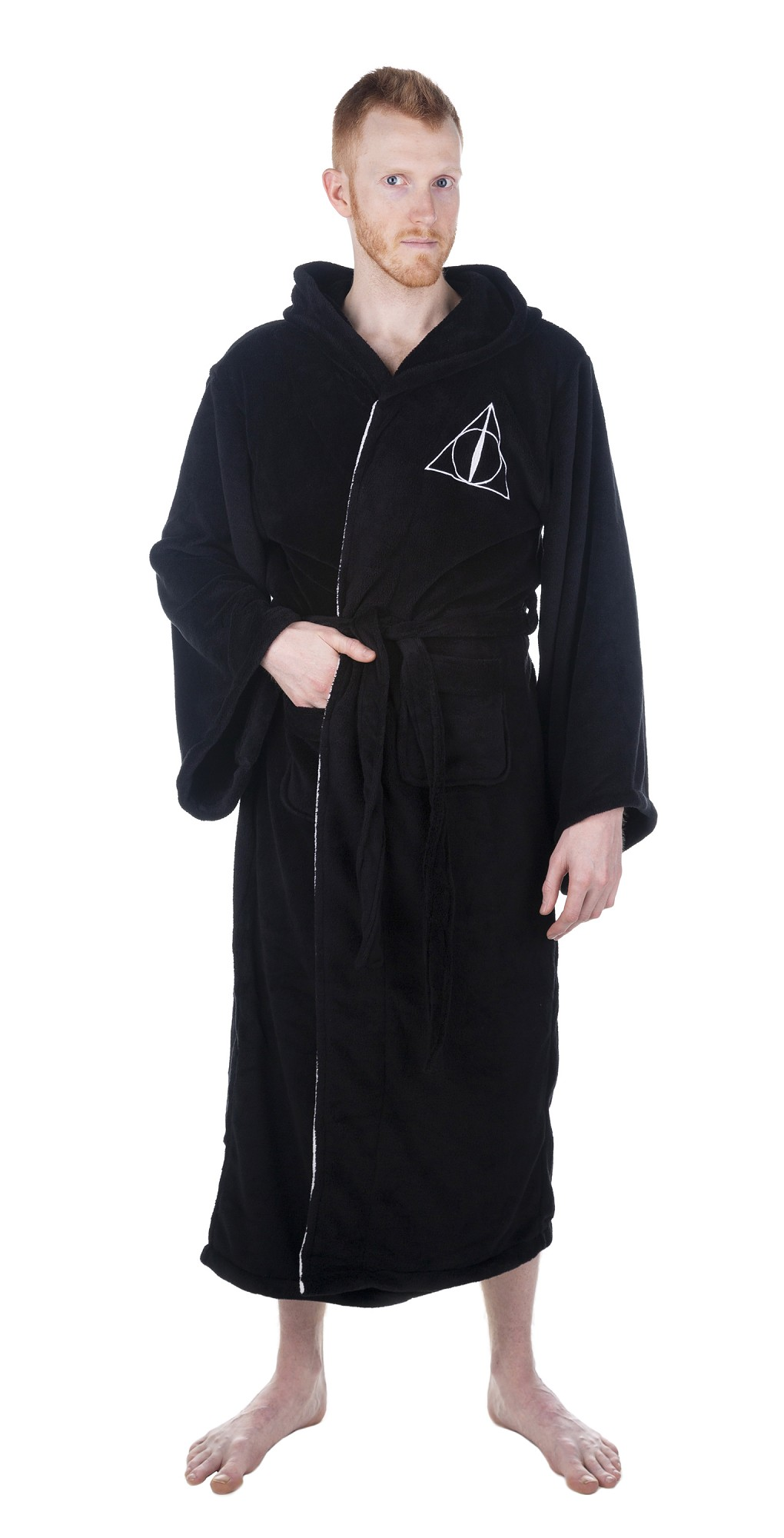 Men\'s Black Harry Potter Deathly Hallows Hooded Fleece Dressing Gown